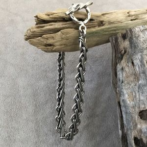 Sterling Silver 925 Heavy Solid Antiqued Oxidized